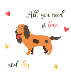 bright card with cute spaniel and text vector image
