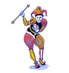 Bright colorful joker with staff in old engraving vector