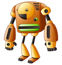brown cartoon robot isolated on white background vector image