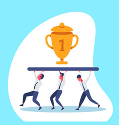 business people team carry golden trophy cup first vector image
