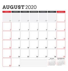 Calendar planner for august 2020 week starts on vector