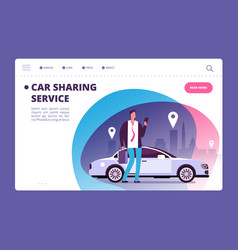 car sharing concept businessman with smartphone vector image