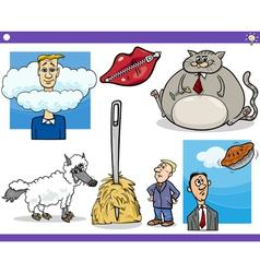 Cartoon concepts and sayings set vector