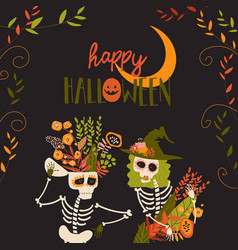 Cartoon skeletons with flowers happy crazy vector