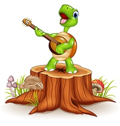 Cartoon turtle playing a guitar on tree stump vector