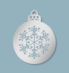 Christmas festive ball cut out of paper vector
