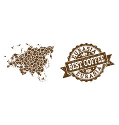 Collage map of europe and asia with coffee beans vector