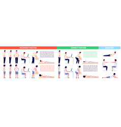 Correct positions posture infographics female vector