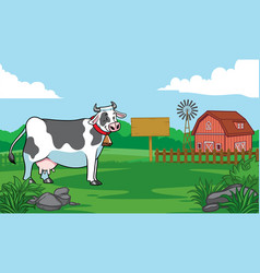 cow in the farm vector image