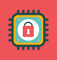 cpu icon with lock sign cyber security vector image