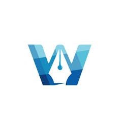 Creative web blue letter w symbol logo vector