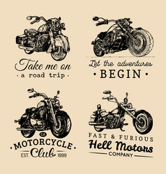 Custom chopper and motorcycle logos set vintage vector