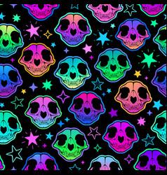 cute cartoon bright cat skull seamless vector image