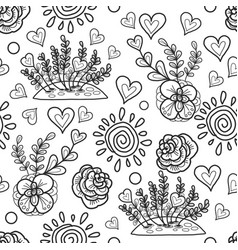 decorative flowerbed sun hearts and simple vector image