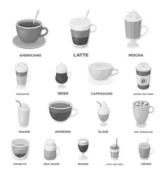 Different kinds of coffee monochrome icons in set vector