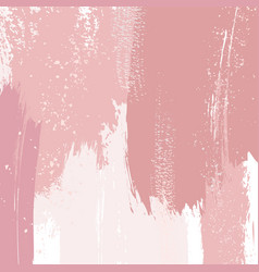 Dusty rose and pink brush strokes and gold lines vector