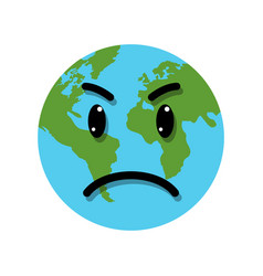 earth globe angry emotion vector image