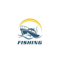 fish fishing boat symbol sign icon vector image