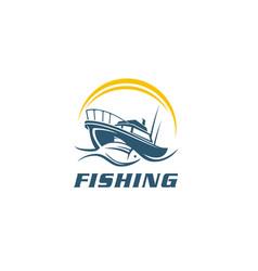 Fish fishing boat symbol sign icon vector