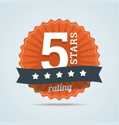 five stars rating sign in flat style vector image