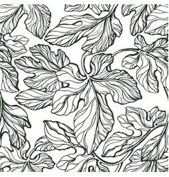 foliage seamless pattern texture leaf fig vector image
