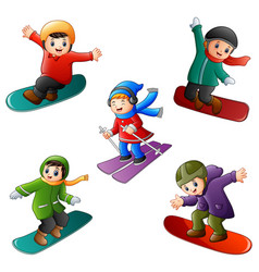 funny kids play winter sports vector image