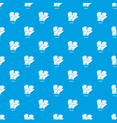 gloves pattern seamless blue vector image