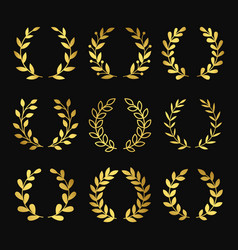 gold wreaths wreath silhouettes isolated vector image