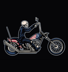 Hand drawing skull riding a chopper motorcycle vector