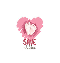 Hand drawn cute logo heart and baby feet for baby vector