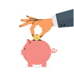 hand putting gold coin a piggy bank vector image