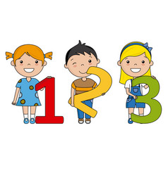 Happy children with numbers vector