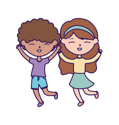 happy childrens day little boy and girl vector image