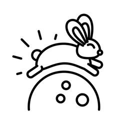 happy mid autumn festival cute bunny jumping vector image