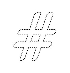 hashtag sign black dashed vector image