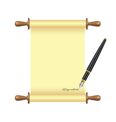 Ink pen signs scroll paper vector