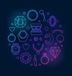 jewellery round colored on vector image