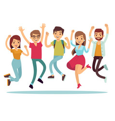 jumping young happy people in casual clothes flat vector image