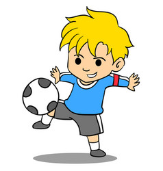 Kid playing football of character vector