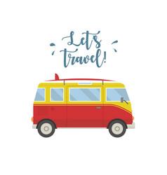 Let s travel concept hippie van vector