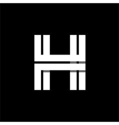 Letter H wide white stripes Logo monogram emblem vector