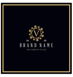 Letter v rose logo design concept ornament vector