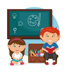 Little school kids couple with chalkboard vector