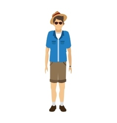 male tourist with glasses and hat icon vector image