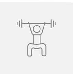Man exercising with barbell line icon vector image