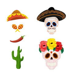 Mexican sugar skull and objects for vector