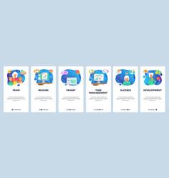 mobile app onboarding screens business vector image