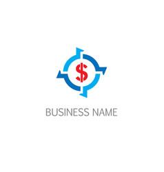 money circle dollar business logo vector image