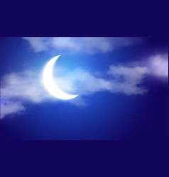 Moon in a starry and cloudy sky eps 10 vector