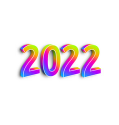 neon numbers 2022 on white background vector image